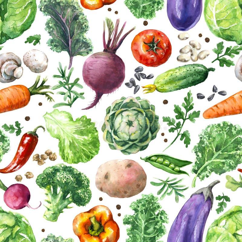 Άνευ ραφής σχέδιο λαχανικών Watercolor διανυσματική απεικόνιση