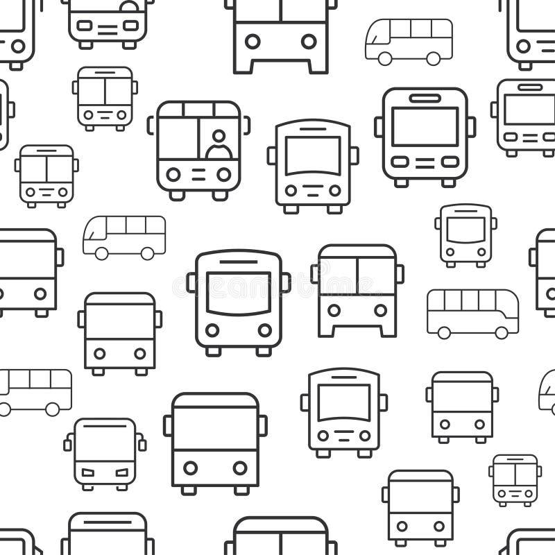 Άνευ ραφής σχέδιο λεωφορείων με τα εικονίδια διανυσματική απεικόνιση