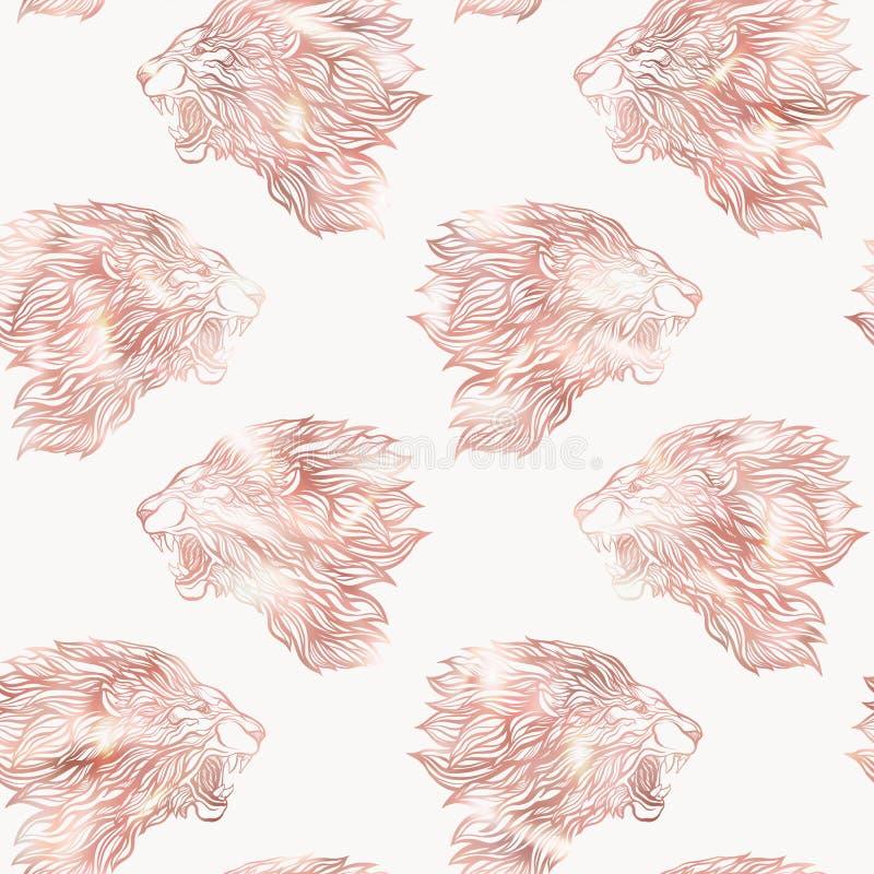 Άνευ ραφής σχέδιο λιονταριών Γραφικός στα ροδαλά χρυσά χρώματα διανυσματική απεικόνιση