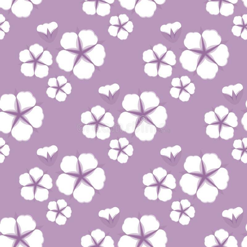 Άνευ ραφής σχέδιο λουλουδιών βαμβακιού Επίπεδο ύφος στο χαριτωμένο ιώδες υπόβαθρο επίσης corel σύρετε το διάνυσμα απεικόνισης διανυσματική απεικόνιση