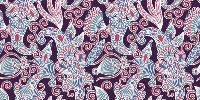 Άνευ ραφής σχέδιο λουλουδιών, ινδικό σχέδιο του Paisley διανυσματική απεικόνιση