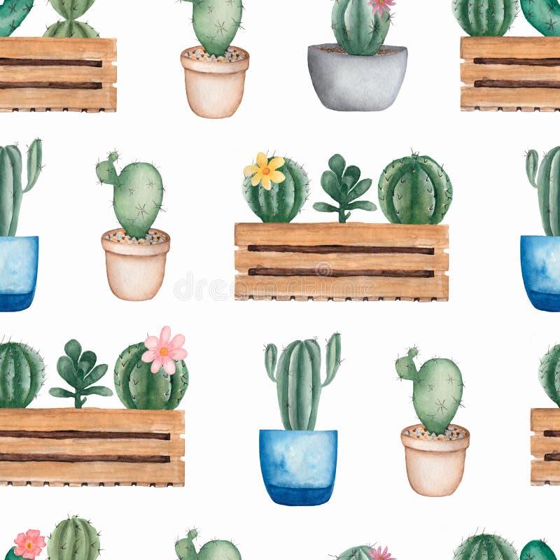 Άνευ ραφής σχέδιο λουλουδιών κάκτων Watercolor Hand-drawn υπόβαθρο με τον κάκτο και succulents Πράσινες εγκαταστάσεις σπιτιών στα ελεύθερη απεικόνιση δικαιώματος