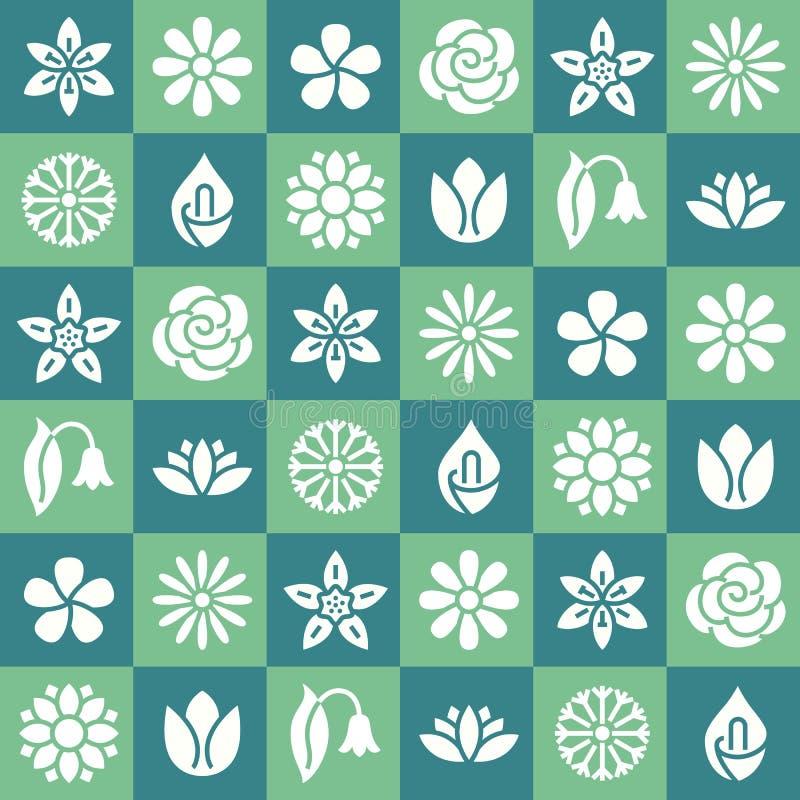 Άνευ ραφής σχέδιο λουλουδιών με τα επίπεδα εικονίδια glyph Οι Floral εγκαταστάσεις κήπων υποβάθρου όμορφες chamomile, ηλίανθος, α διανυσματική απεικόνιση
