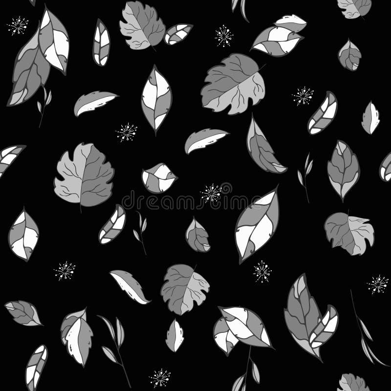 Άνευ ραφής σχέδιο λουλουδιών ταπετσαριών φύλλων Monohrom σε ένα μαύρο υπόβαθρο επίσης corel σύρετε το διάνυσμα απεικόνισης χέρι σ ελεύθερη απεικόνιση δικαιώματος