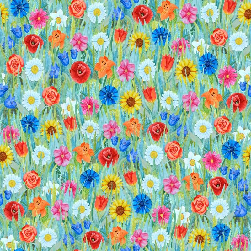 Άνευ ραφής σχέδιο λουλουδιών: daffodil, η τουλίπα, chamomile, παπαρούνα, cornflower, ηλίανθος, bluebell, αυξήθηκε στη χλόη διανυσματική απεικόνιση