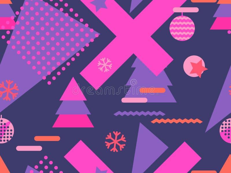 Άνευ ραφής σχέδιο Μέμφιδα Χριστουγέννων με snowflakes και fir-trees ελεύθερη απεικόνιση δικαιώματος