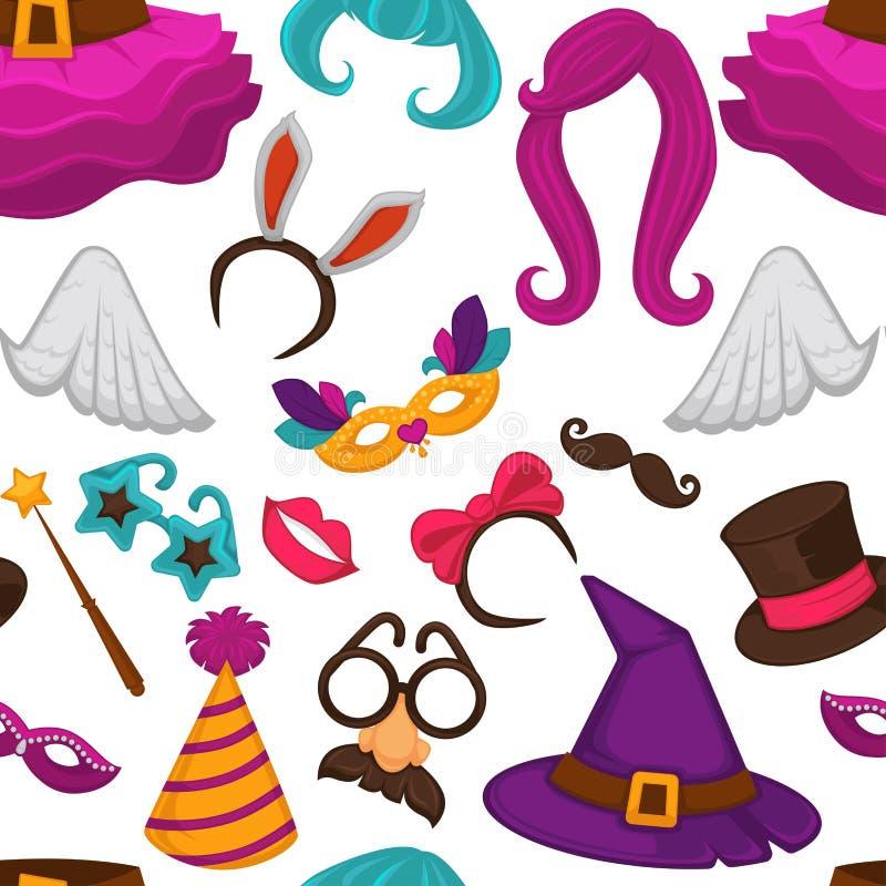 Άνευ ραφής σχέδιο μασκών καρναβαλιού και εξαρτημάτων κοστουμιών ελεύθερη απεικόνιση δικαιώματος