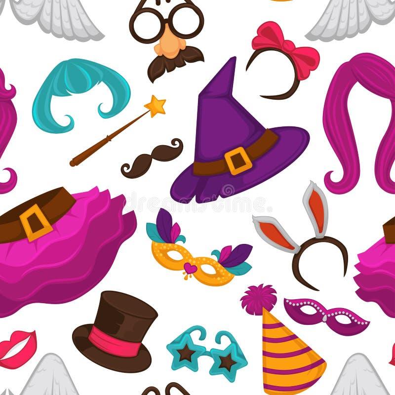 Άνευ ραφής σχέδιο μασκών καρναβαλιού και εξαρτημάτων κοστουμιών απεικόνιση αποθεμάτων