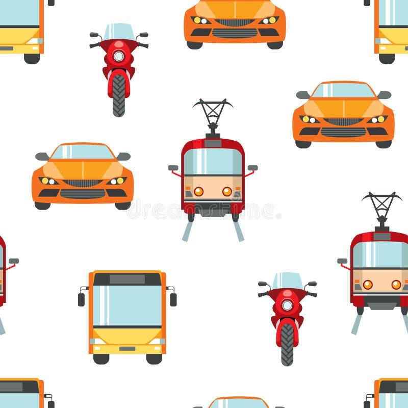 Άνευ ραφής σχέδιο μεταφορών πόλεων Φωτεινά αυτοκίνητα χρώματος, μοτοσικλέτες, τραμ, λεωφορεία ελεύθερη απεικόνιση δικαιώματος