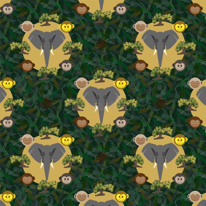 Άνευ ραφής σχέδιο με έναν γκρίζο ελέφαντα διανυσματική απεικόνιση