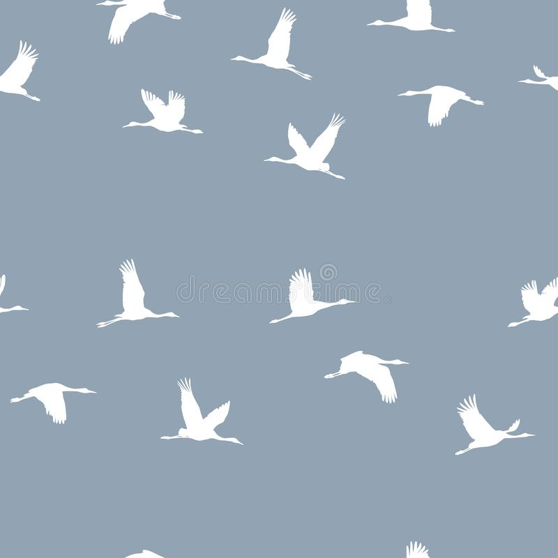 Άνευ ραφής σχέδιο με ένα κοπάδι των άσπρων γερανών σε ένα μπλε υπόβαθρο διανυσματική απεικόνιση