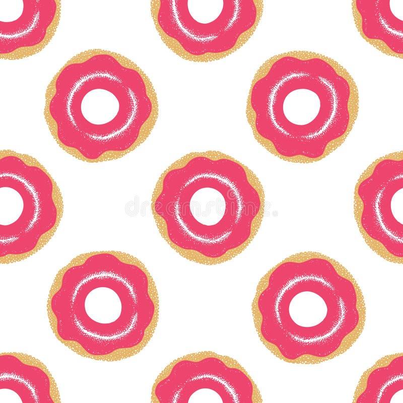 Άνευ ραφής σχέδιο με βερνικωμένος donuts Ρόδινα χρώματα Διανυσματική συρμένη χέρι απεικόνιση διανυσματική απεικόνιση