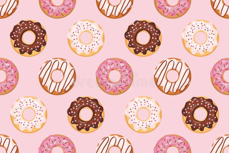 Άνευ ραφής σχέδιο με βερνικωμένος donuts Ρόδινα χρώματα Girly Για την τυπωμένη ύλη και τον Ιστό απεικόνιση αποθεμάτων