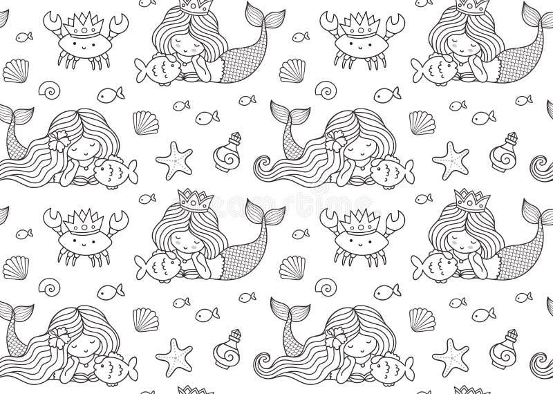Άνευ ραφής σχέδιο με λίγη να βρεθεί γοργόνα, μεγάλα ψάρια, krabbe, κορώνα ελεύθερη απεικόνιση δικαιώματος