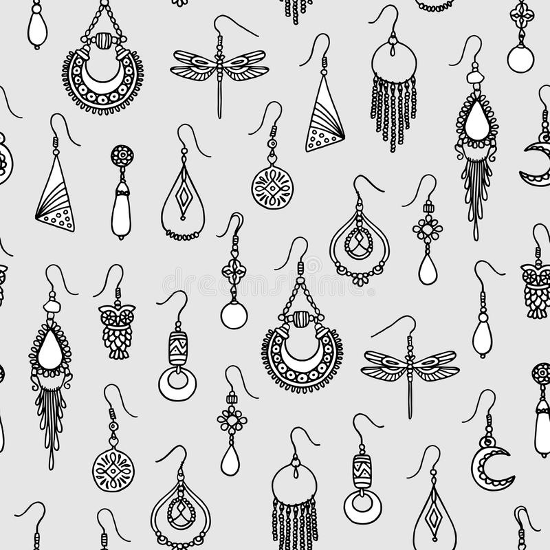 Άνευ ραφής σχέδιο με συρμένα τα χέρι σκουλαρίκια ελεύθερη απεικόνιση δικαιώματος