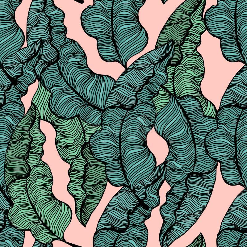Άνευ ραφής σχέδιο με συρμένα τα χέρι τροπικά φύλλα Καθιερώνοντες τη μόδα κλάδοι φοινικών επίσης corel σύρετε το διάνυσμα απεικόνι ελεύθερη απεικόνιση δικαιώματος