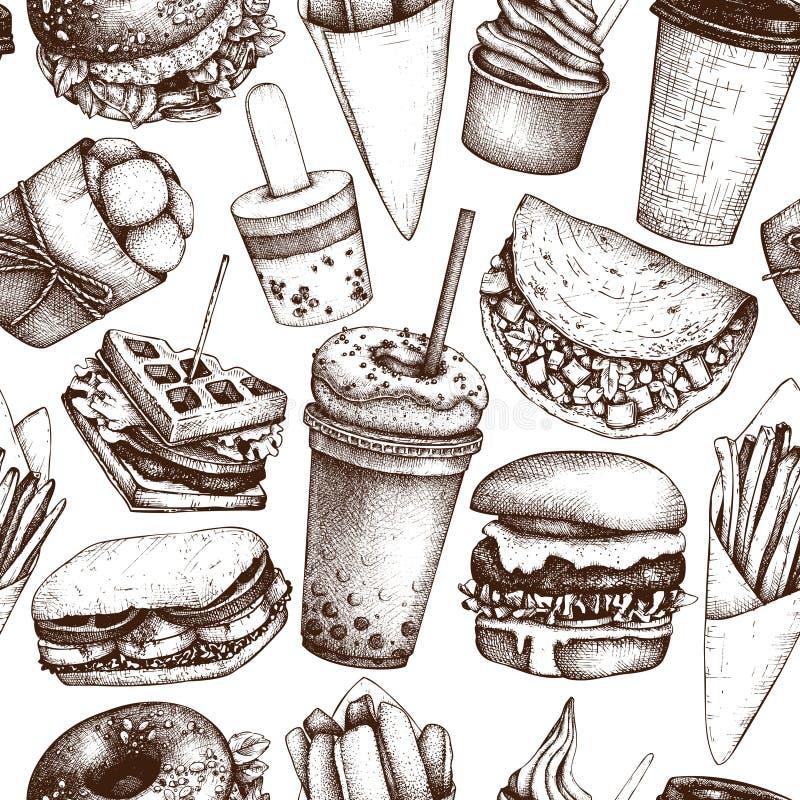 Άνευ ραφής σχέδιο με συρμένες τις χέρι απεικονίσεις γρήγορου φαγητού Εκλεκτής ποιότητας υπόβαθρο για τις επιλογές φορτηγών εστιατ διανυσματική απεικόνιση