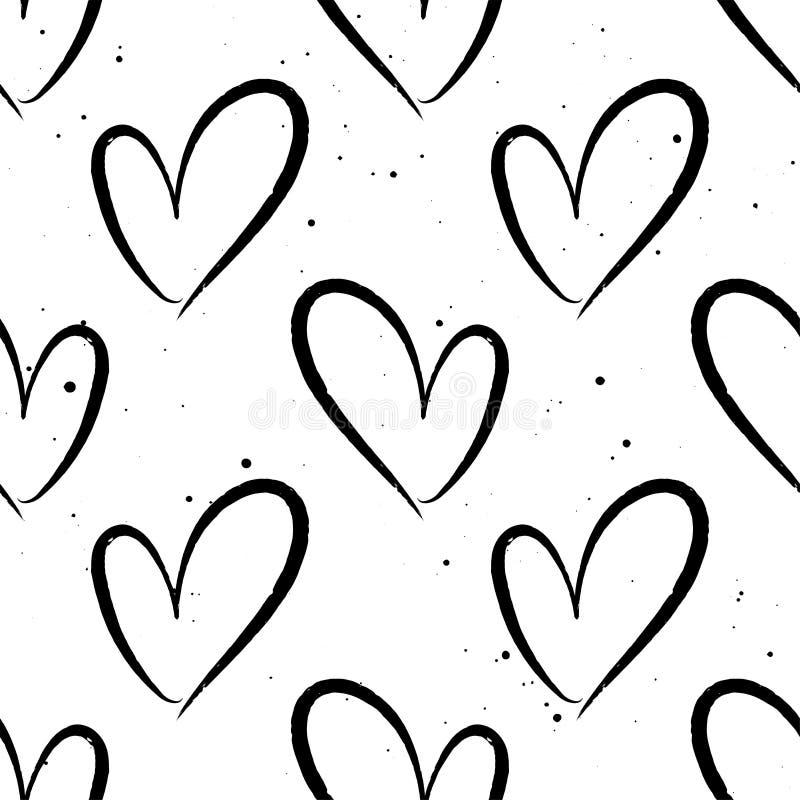 Άνευ ραφής σχέδιο με συρμένες τις χέρι καρδιές ελεύθερη απεικόνιση δικαιώματος