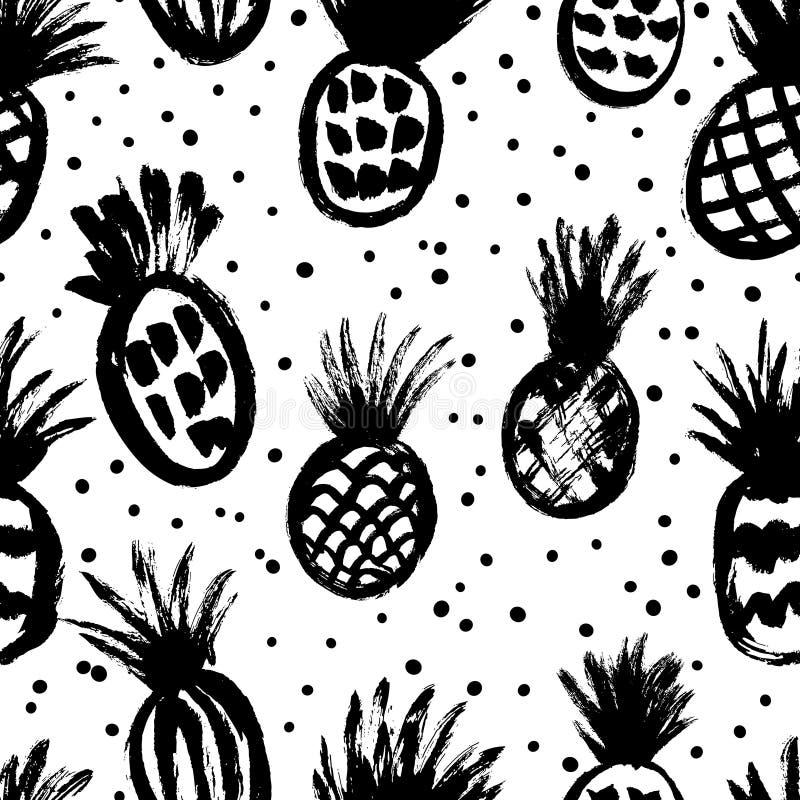 Άνευ ραφής σχέδιο με συρμένους τους χέρι ανανάδες απεικόνιση αποθεμάτων