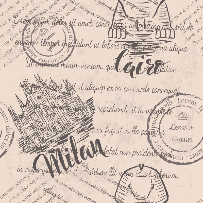 Άνευ ραφής σχέδιο με συρμένο το χέρι καθεδρικό ναό του Μιλάνου, γράφοντας Μιλάνο, συρμένο χέρι Sphinx, γράφοντας Κάιρο και εξασθε ελεύθερη απεικόνιση δικαιώματος