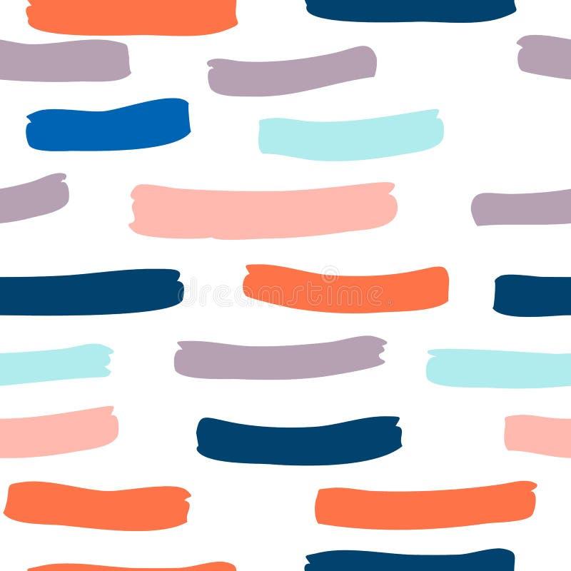 άνευ ραφής σχέδιο με συρμένο το χέρι χέρι κτυπημάτων και λωρίδων βουρτσών που χρωματίζεται ελεύθερη απεικόνιση δικαιώματος