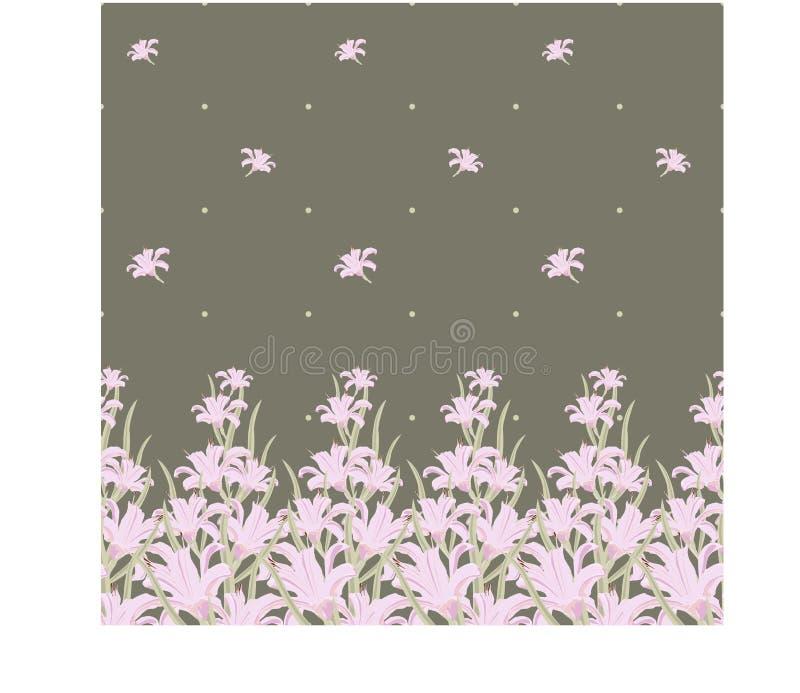 Άνευ ραφής σχέδιο με σύνορα των λουλουδιών κρίνων επίσης corel σύρετε το διάνυσμα απεικόνισης ελεύθερη απεικόνιση δικαιώματος