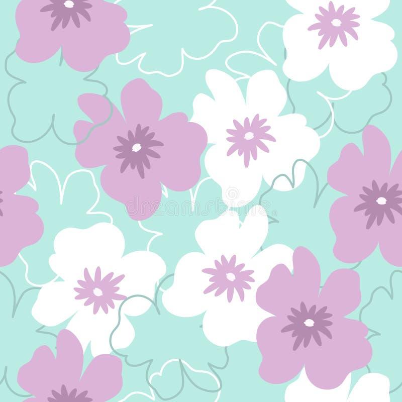Άνευ ραφής σχέδιο με τα άσπρα και πορφυρά λουλούδια σε ένα τυρκουάζ υπόβαθρο ελεύθερη απεικόνιση δικαιώματος