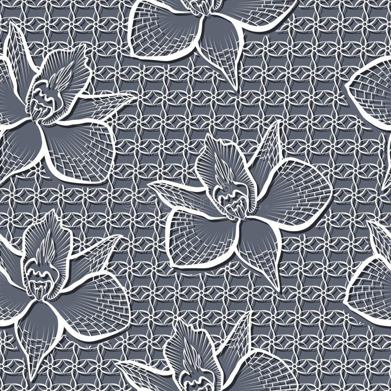 Άνευ ραφής σχέδιο με τα άσπρα λουλούδια απεικόνιση αποθεμάτων