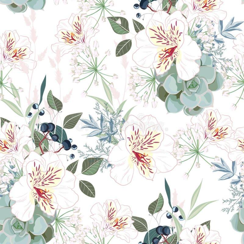 Άνευ ραφής σχέδιο με τα άσπρα λουλούδια, τα φύλλα και τα μούρα alstroemeria Συρμένο χέρι εκλεκτής ποιότητας υπόβαθρο απεικόνιση αποθεμάτων