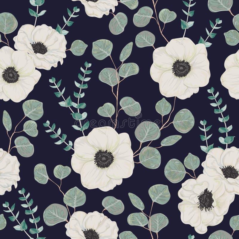 Άνευ ραφής σχέδιο με τα άσπρους λουλούδια και τον ευκάλυπτο anemone ελεύθερη απεικόνιση δικαιώματος