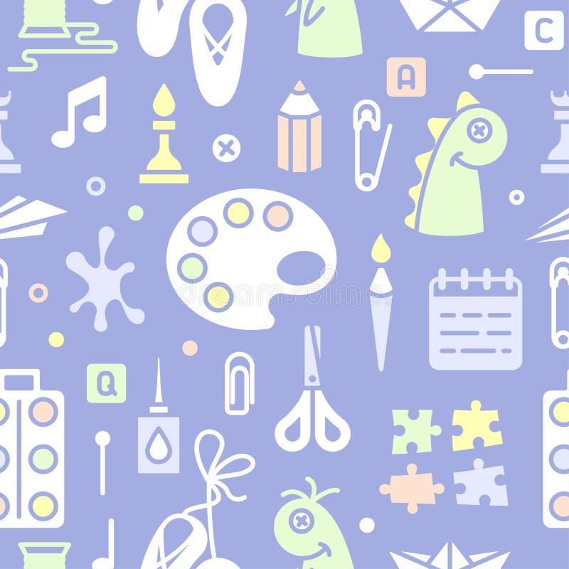 Άνευ ραφής σχέδιο με τα αντικείμενα για τα δημιουργικά μαθήματα παιδιών στο επίπεδο ύφος απεικόνιση αποθεμάτων