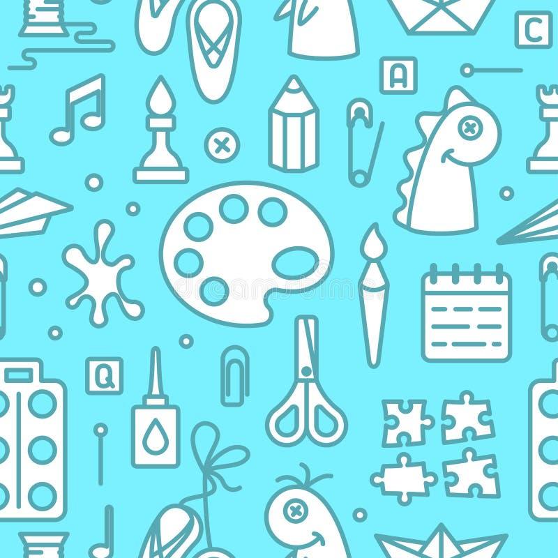 Άνευ ραφής σχέδιο με τα αντικείμενα για τα δημιουργικά μαθήματα παιδιών απεικόνιση αποθεμάτων