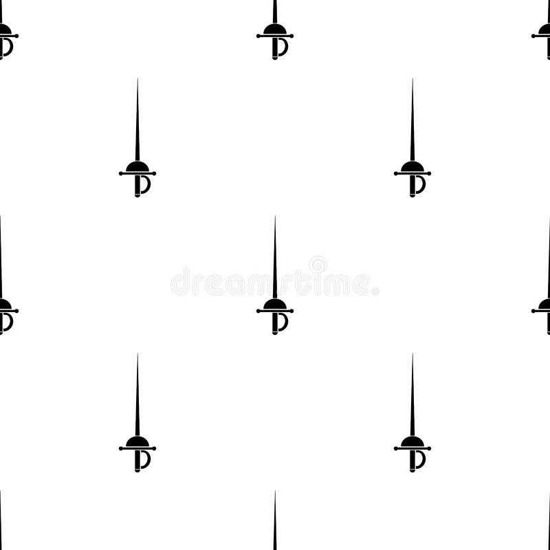 Άνευ ραφής σχέδιο με τα απλά rapier εικονίδια ξιφών Διανυσματική απεικόνιση για το σχέδιο, Ιστός, τυλίγοντας έγγραφο, ύφασμα, ταπ απεικόνιση αποθεμάτων