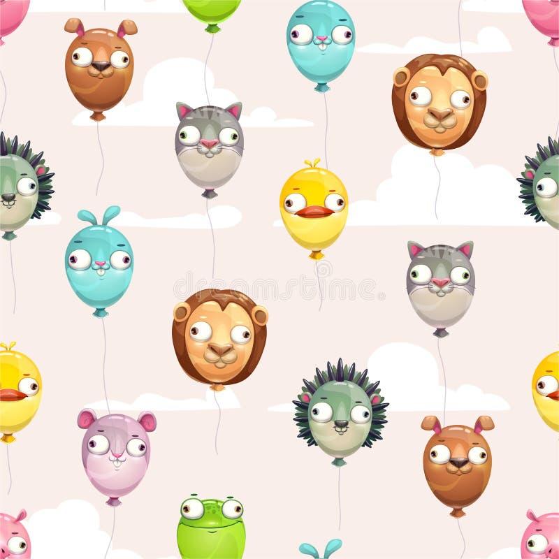 Άνευ ραφής σχέδιο με τα αστεία ζωηρόχρωμα πετώντας μπαλόνια με τα τρελλά ζωικά πρόσωπα στο νεφελώδες υπόβαθρο ουρανού ελεύθερη απεικόνιση δικαιώματος