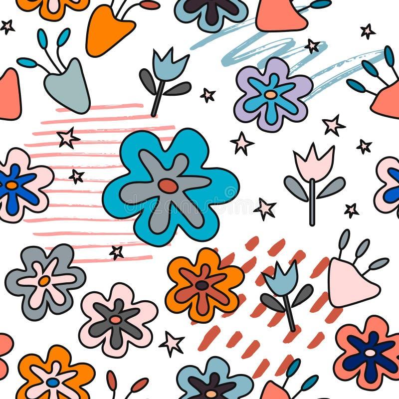 Άνευ ραφής σχέδιο με τα αφηρημένα λουλούδια Δημιουργικό floral σχέδιο επιφάνειας   ελεύθερη απεικόνιση δικαιώματος