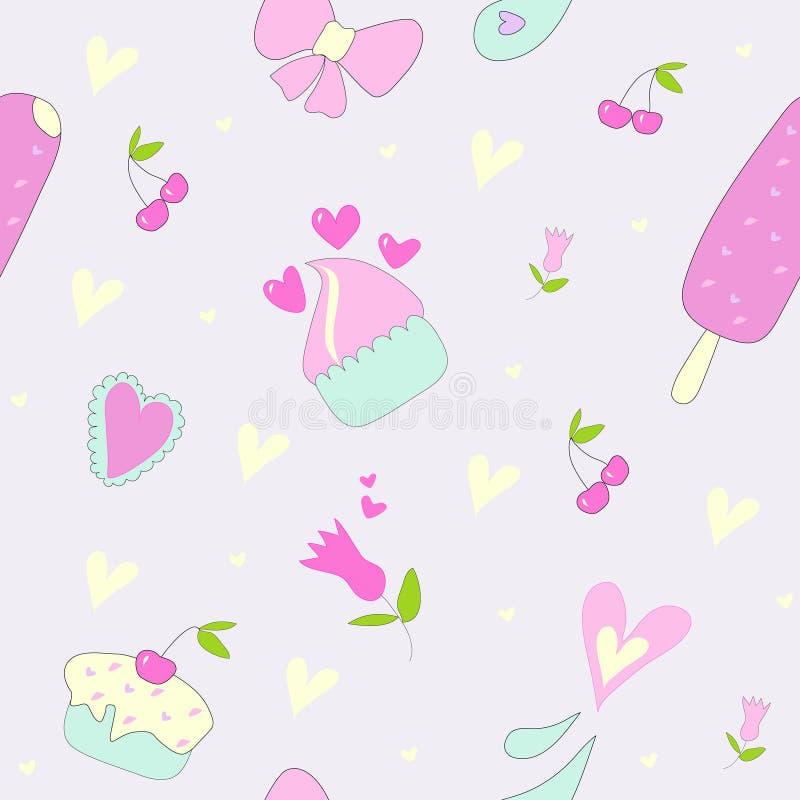 Άνευ ραφής σχέδιο με τα γλυκά, καρδιές, λουλούδια και candie διανυσματική απεικόνιση