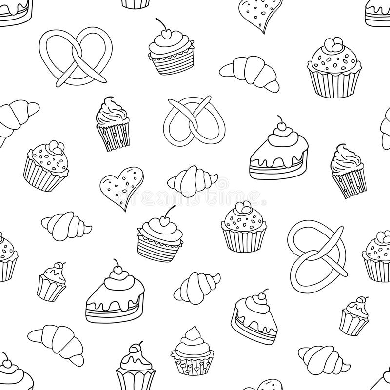 Άνευ ραφής σχέδιο με τα γλυκά, πίτες, cupcakes, παγωτό, προϊόντα αρτοποιίας επίσης corel σύρετε το διάνυσμα απεικόνισης ελεύθερη απεικόνιση δικαιώματος