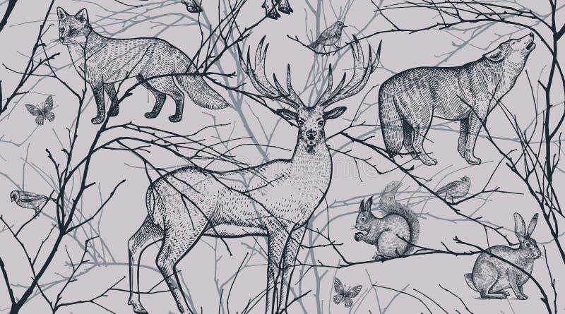 Άνευ ραφής σχέδιο με τα δασικούς ζώα, τα πουλιά και τους κλάδους δέντρων διανυσματική απεικόνιση