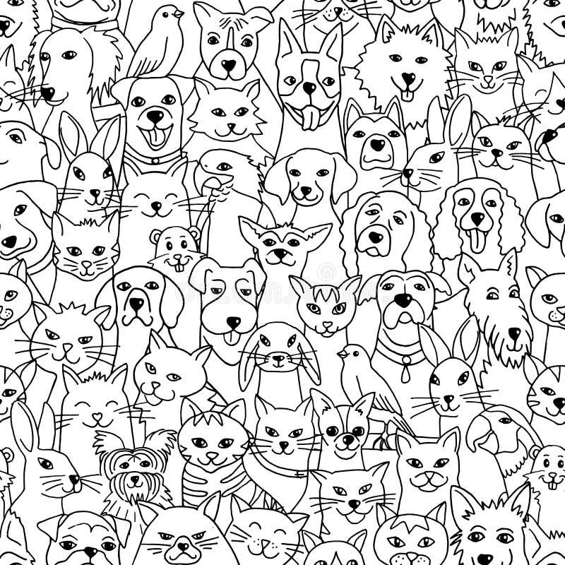 Άνευ ραφής σχέδιο με τα διάφορα κατοικίδια ζώα ελεύθερη απεικόνιση δικαιώματος