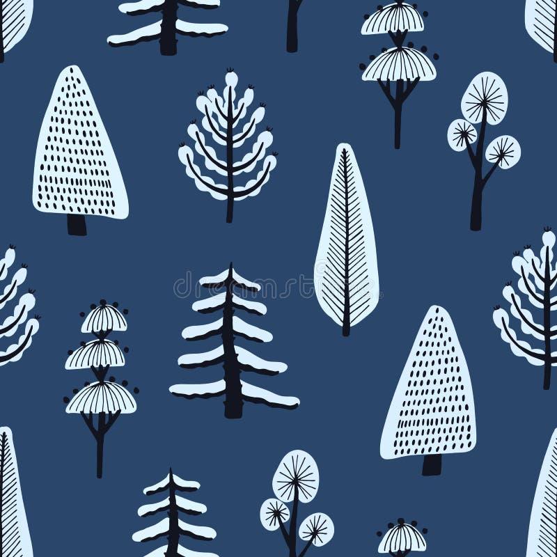 Άνευ ραφής σχέδιο με τα διάφορα συρμένα χέρι χειμερινά δέντρα που καλύπτονται από το χιόνι στο μπλε υπόβαθρο Σκηνικό με τα κινούμ διανυσματική απεικόνιση