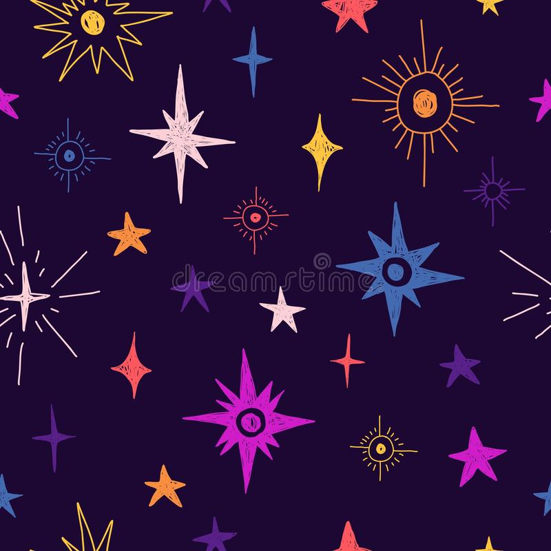 Άνευ ραφής σχέδιο με τα διαστημικά στοιχεία Ταπετσαρία ύφους κινούμενων σχεδίων με το κοσμικό αστέρι Υπόβαθρο παιδιών με hand-dra ελεύθερη απεικόνιση δικαιώματος