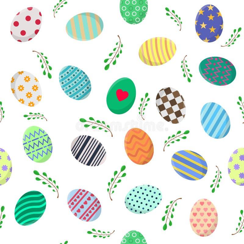 Άνευ ραφής σχέδιο με τα διαφορετικά αυγά Πάσχας και τους πράσινους κλάδους στο λευκό Τελειοποιήστε για το τυλίγοντας έγγραφο, ταπ διανυσματική απεικόνιση