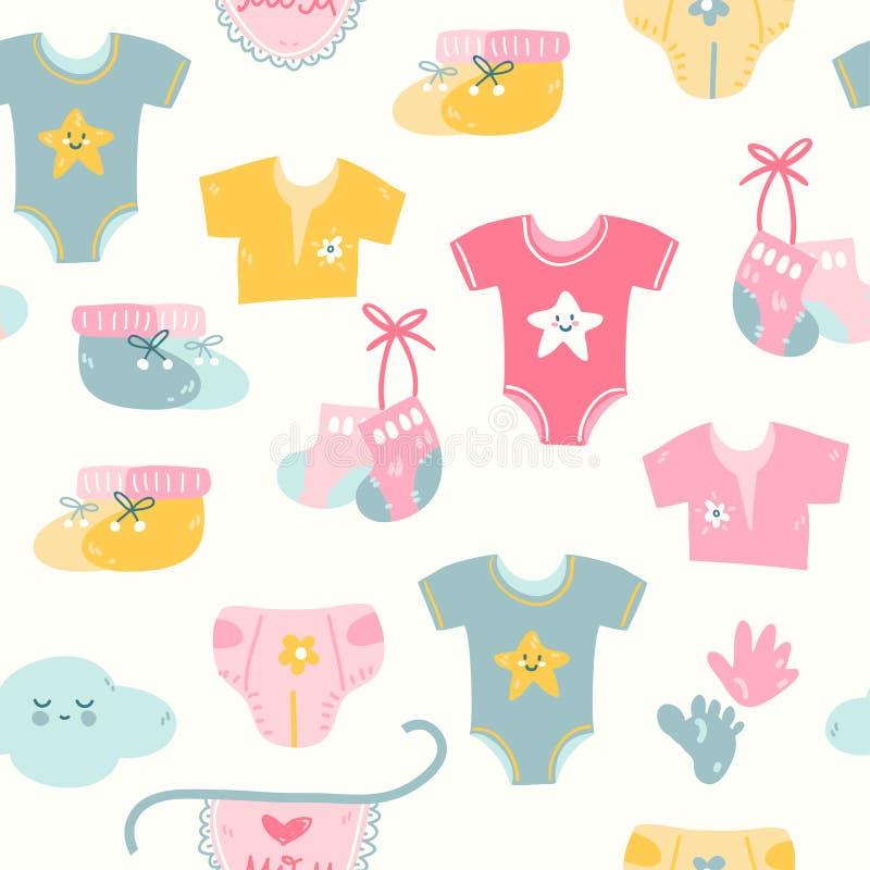 Άνευ ραφής σχέδιο με τα διαφορετικά καροτσάκια μωρών χρωμάτων, εκλεκτής ποιότητας απλό ύφος απεικόνιση αποθεμάτων