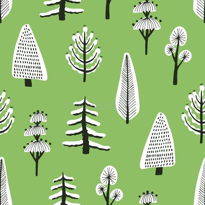 Άνευ ραφής σχέδιο με τα διαφορετικά συρμένα χέρι χειμερινά δέντρα που καλύπτονται από το χιόνι στο πράσινο υπόβαθρο Σκηνικό με τα απεικόνιση αποθεμάτων