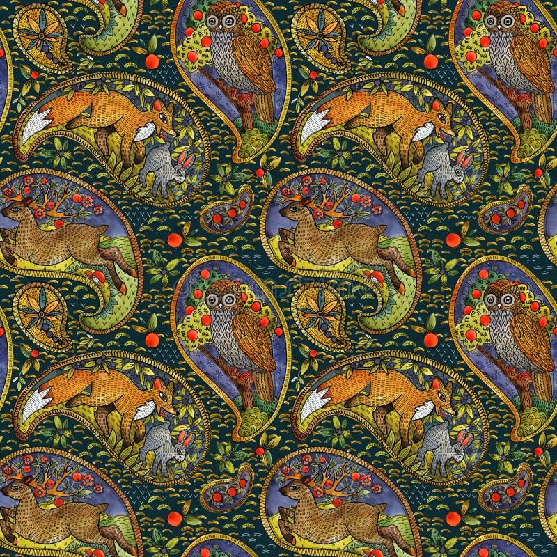 Άνευ ραφής σχέδιο με τα εθνικά δασικά ζώα μοτίβου απεικόνιση λαογραφίας watercolor υπόβαθρο στοιχείων του Paisley στοκ φωτογραφία με δικαίωμα ελεύθερης χρήσης