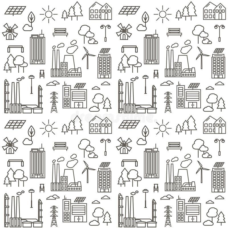 Άνευ ραφής σχέδιο με τα εικονίδια γραμμών πόλεων eco στοκ φωτογραφίες με δικαίωμα ελεύθερης χρήσης
