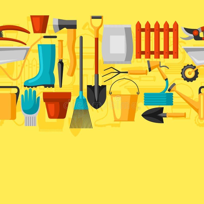 Άνευ ραφής σχέδιο με τα εργαλεία και τα εικονίδια κήπων Όλοι για την επιχειρησιακή απεικόνιση κηπουρικής απεικόνιση αποθεμάτων