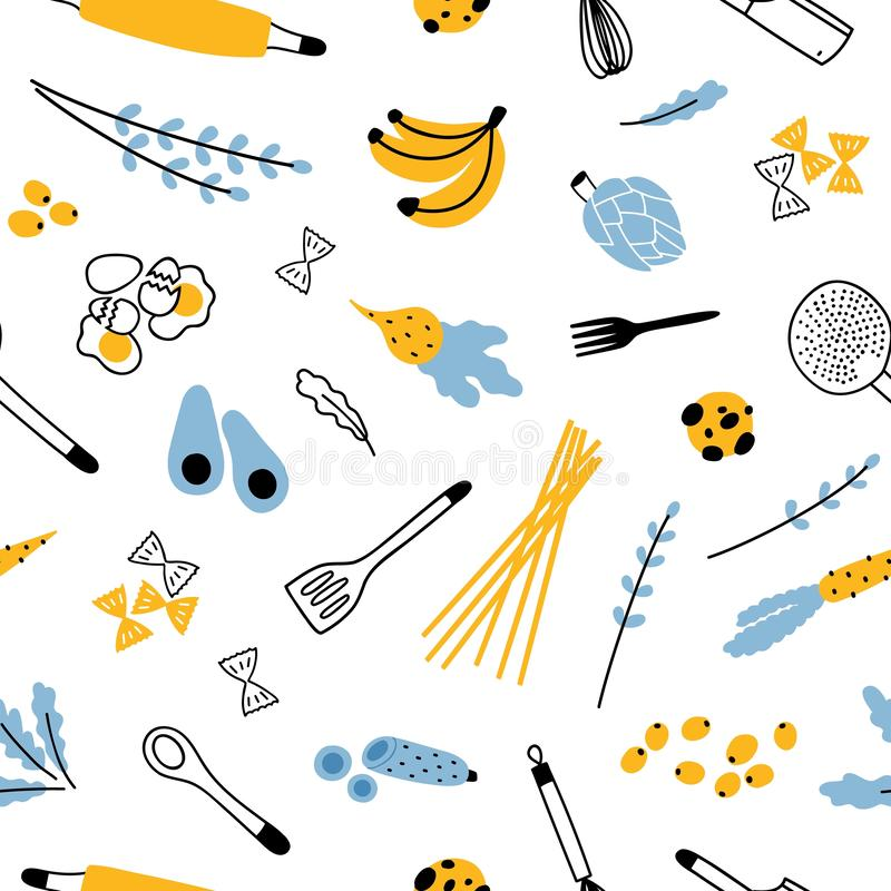 Άνευ ραφής σχέδιο με τα εργαλεία κουζινών για τη σπιτική προετοιμασία γευμάτων, φρούτα και λαχανικά στο άσπρο υπόβαθρο σύγχρονος διανυσματική απεικόνιση