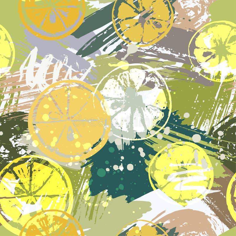 Άνευ ραφής σχέδιο με τα εσπεριδοειδή στους αφηρημένους λεκέδες watercolor, ελεύθερα κτυπήματα βουρτσών χρωμάτων απεικόνιση αποθεμάτων