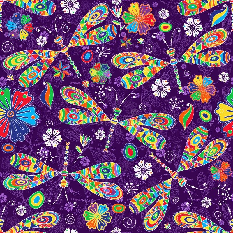 Άνευ ραφής σχέδιο με τα ζωηρόχρωμα gragonflies και το λουλούδι μωσαϊκών doodle ελεύθερη απεικόνιση δικαιώματος